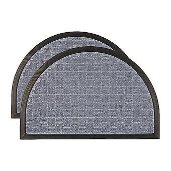 2x esteras de puerta de servicio pesado goma espalda al aire libre alfombras de bienvenida 60 x 40cm gris