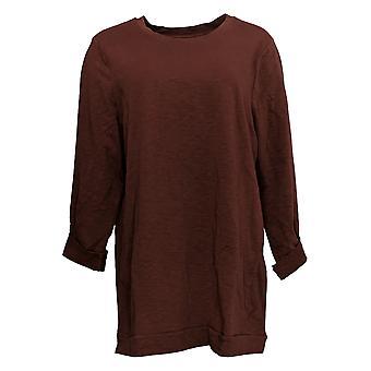 Denim & Co. Women's Tunic Active Regular 3/4-Sleeve Brown A383248