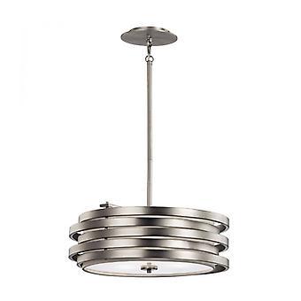 Lámpara Colgante Roswell, Níquel Cepillado, 3 Bombillas