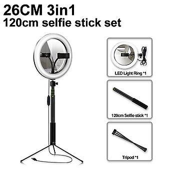 Led Selfie Make-up Spiegel Ring Licht Profission USB-Ring-Lampe Fotografie Foto mit Handyhalter 1,5m Stativ stehen für Make-up
