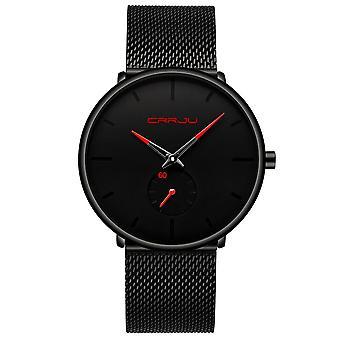 Miesten kellot, Luxury Quartz Watch, Casual Slim, Verkko teräs, Vedenpitävä