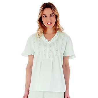 Slenderella PJ55252 Women's Cotton Embroidered Pyjama Set