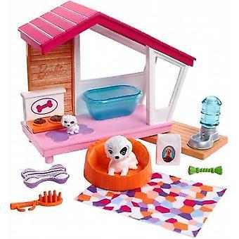 Barbie grand chenil d'animal familier d'ensemble d'accessoire d'intérieur avec le crabot et le chiot