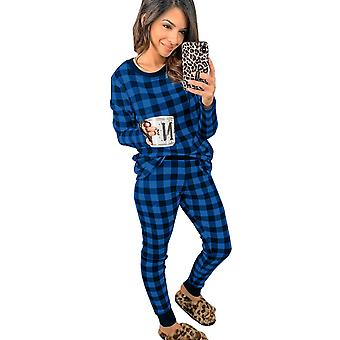 Women's Blue Plaid Long Sleeve Pant Two Pieces Loungewear
