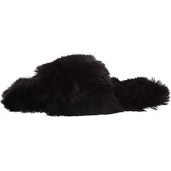 Marchio - Mae Women's Fuzzy One-Strap Slipper, Bianco, 7 B US