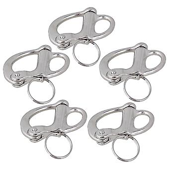 5pieces 304 Roestvrij 3.5cm Rigging Sailing Fixed Bail Snap Shackle Hard Silver