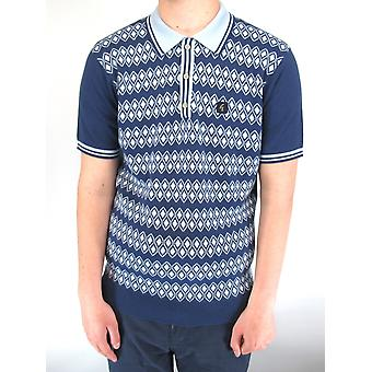 Gable Blue Argyle Pattern Knitted Polo Shirt