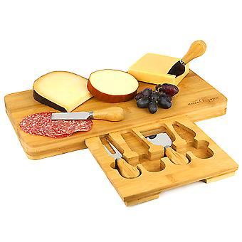 Bamboo Cheese Board Serving Platter With Knife Set   M&W