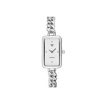 Clara reloj de mujer diamantes 0.012 quilates - pulsera de metal de plata de esfera blanca