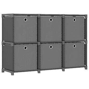 vidaXL Cube shelf with boxes 6 compartments Grey 103x30x72.5 cm fabric