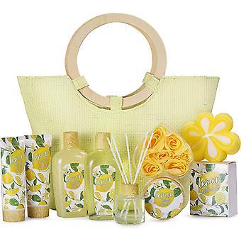 Bath Gift Set for Women, 10 Pcs Lemon Scent Spa Gift Baskets in Beautiful Tote Bag - Best Women