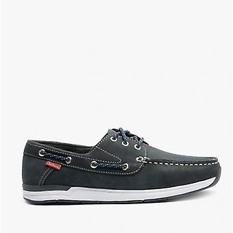 Chatham Hastings Mens Leather Boat Shoes Navy