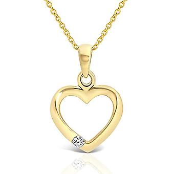 Planetys Necklace with heart in yellow 9 carat gold (375/1000) with diamond, length 42-45 cm(2)