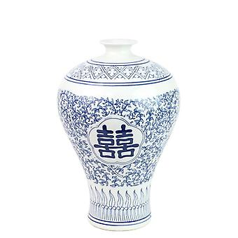 Chinese Traditional JingDezheng Vase Double happy design curled withe and orchid porcelain vase