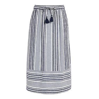 Samara Striped Woven Midi Skirt Navy