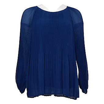 Laurie Felt Women's Top Small Pleated Chiffon Blue A347217
