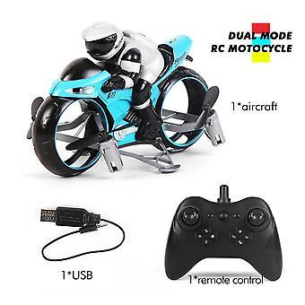 RC Motocicleta Vehicl Niños Juguetes Eléctricos 2.4Ghz Racing Moto Boy Fligt Drone para niños(Azul)
