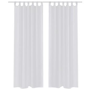 2 x Cortina transparente de cortina pronta 140 x 225 branco