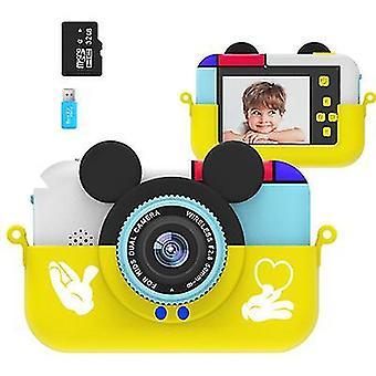 Желтый Микки Маус детский мультфильм цифровой фотоаппарат, портативный спортивный видеокамера высокой четкости az22089