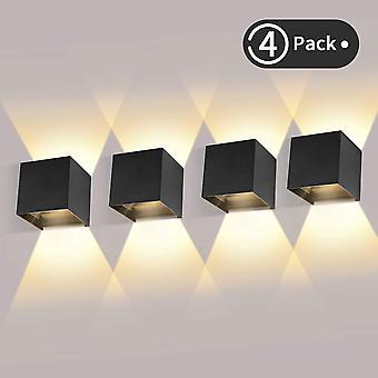 Black 4 pieces outdoor led wall light 12w indoor wall lights 3000k warm white waterproof design ip65 - black dt6763
