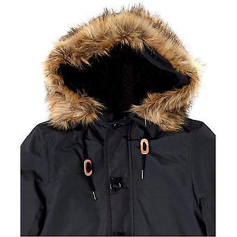 Essentials Women's Water Resistant Long Sleeve Longer Length Parka with Faux Fur Trim Hood