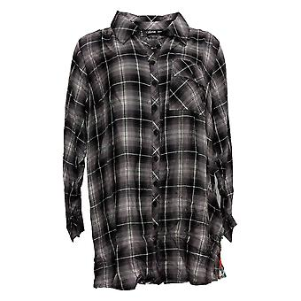 Tolani Collection Women's Petite Top Plaid Tunic W/ Print Back Gray A383446