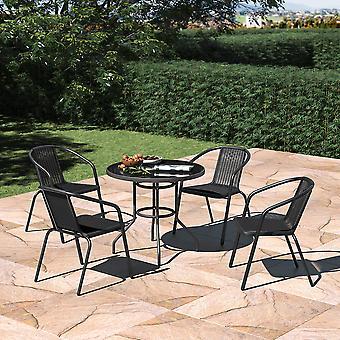 Set von 5 Garten Glas SchirmTisch und stapelbare Stühle Set