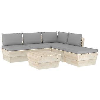 vidaXL 6-tlg. Jardin canapé-lit en palettes avec oreillers épicéa