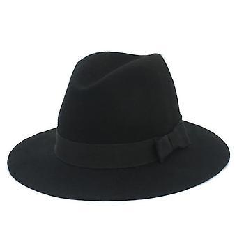 100% lână, Wide Brim, Floppy Felt Trilby Bowknot Hat (Negru)