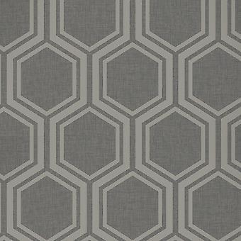 Arthouse Metalliset tekstuurit Luxe Hexagon Gunmetal Hopea taustakuva 906601