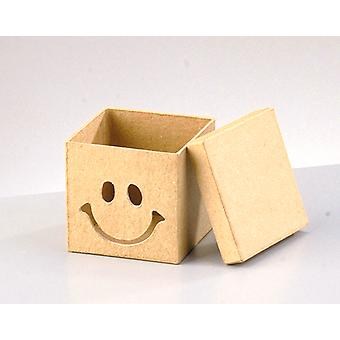 LAST FEW - # 7.5cm Small Square Smiley Face Box to Decorate | Papier Mache Boxes