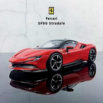 1:24 Ferrari Sf90 Stradale Simulatie Die Cast Alloy Car Model Collection Gift Toy (rood)