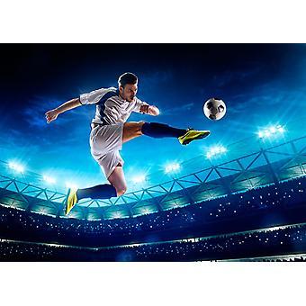 Tapetmaleri fotballspiller i nattstadionet