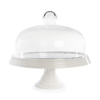 Ceramic Cake Stand with Glass Cover   M&W