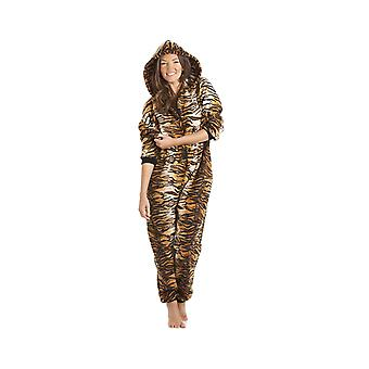Camille Naisten Naisten Ylellinen Kulta Ja Ruskea Tiikeri Print Hupullinen Kaikki Yhdessä Onesie Pocketed Pyjama Koot 10-40