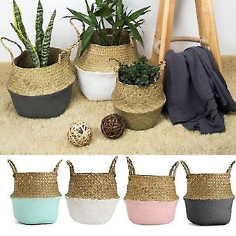 Rattan Straw Seagrasss Folding Hanging Basket Flower Pot Vase For Home Garden