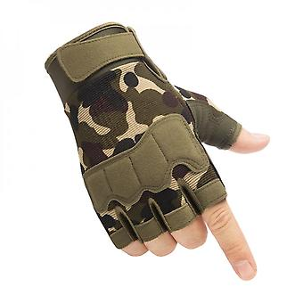 Knuckle Protection, Breathable And Lightweight Outdoor Fingerless Tactical Gloves, Suitable For Shooting, Hunting, Motorcycles, Mountaineering - Camo