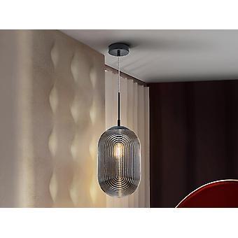 Schuller Tensai hanglamp met rokerig patroon gegraveerd glas