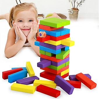 Diikamiiok Children's Interactive Board Game With Wooden Color Stacked High Digital Balance Blocks