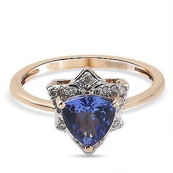 GP Tanzanite, White Diamond Designer Ring 9K Yellow Gold Gift for Her 1.1ct(N)