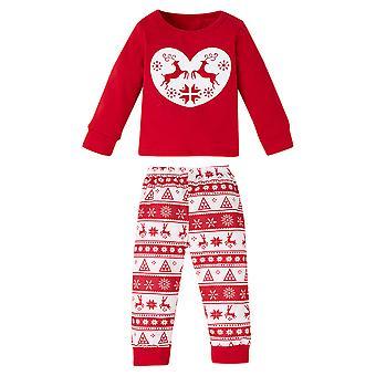 Kids Girls Christmas Clothes Outfit Elk Top Xmas Fair Isle Pants Set