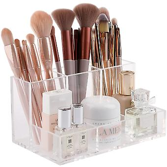 Clear Makeup Brush Holder, Cosmetics Organizer Desktop Storage Box Display Case