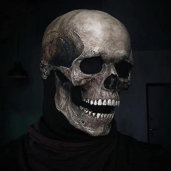 Bevægelige Jaw Full Head Skull Mask Halloween Dekoration Horror Hjelm