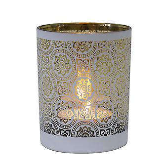 Table Tech Zaragoza 12.5cm Glass Candle Holder, White, Gold