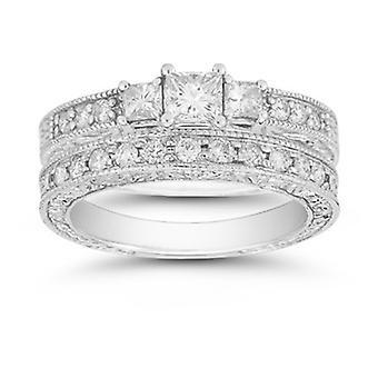 "1.38 Carat  Three Stone Princess Cut ""Floret"" Bridal Set"