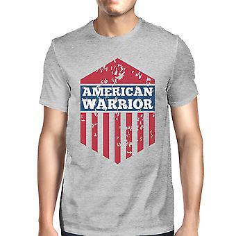 American Warrior Tee Mens Grey Cotton Tshirt American Flag Shirt