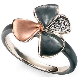 Chapado en oro plata 925 flor y tendencia de anillo de Zirconia