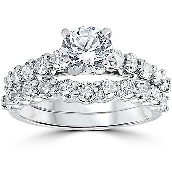 2ct Diamond noivado anel de casamento Set 14K ouro branco