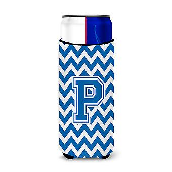 Letter P Chevron Blue and White Ultra Beverage Insulators for slim cans