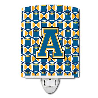 Letter A Football Blue and Gold Ceramic Night Light